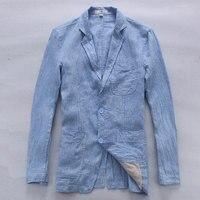 Italy Brand Linen Jacket Men Autumn Long Sleeved Flax Men Jacket Solid Fashion Jackets Men Business