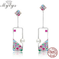 Mytys 925 Sterling Silver Earrings Freshwater Pearl Adorned Square Dangle Earrings Colorful CZ Setting High Level jewelry CE406