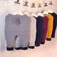 TBZ Çocuklar Kış Pantolon 2016 Erkek Kız Pantolon Sıcak Kalınlaşma Geometri Örme Elastik Bel Pantolon erkek PP pantolon Çocuk Giysileri