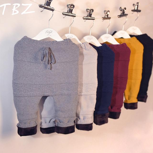 TBZ Crianças Calças de Inverno 2016 Das Meninas Dos Meninos Calças Quentes Espessamento Geometria de Malha Elástico Na Cintura Calças meninos calças PP Crianças Roupas