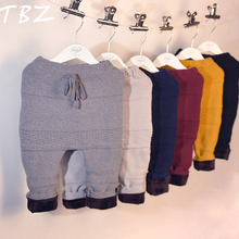 TBZ Kids Winter Pants 2016 Boys Girls Pants Warm Thickening Geometry Knitted Elastic Waist Pants boys PP pants Children Clothes