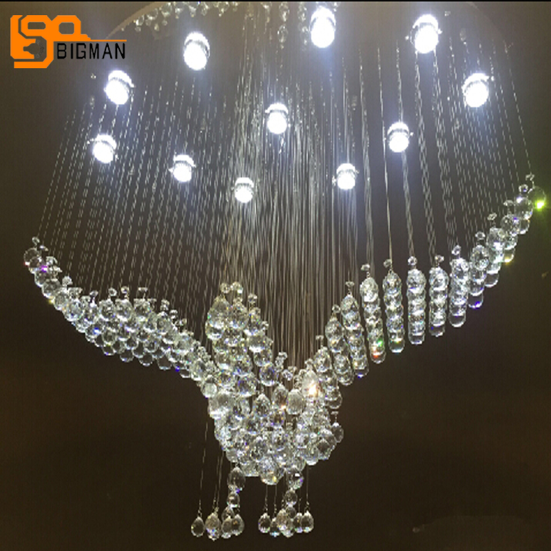 купить Oval design large crystal chandelier modern lighting AC110V 220V luxury hotel lobby chandelier LED Light по цене 56641.92 рублей