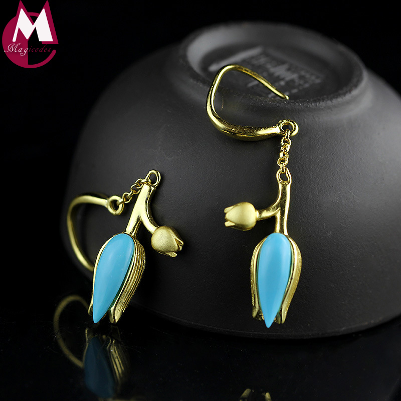 Top Quality Turquoise Gold Color Drop Earrings Gemstone Jewelry 925 Sterling Silver Earrings For Women Fine Tulip Flower SE95 pair of sweet candy color gemstone embellished earrings for women