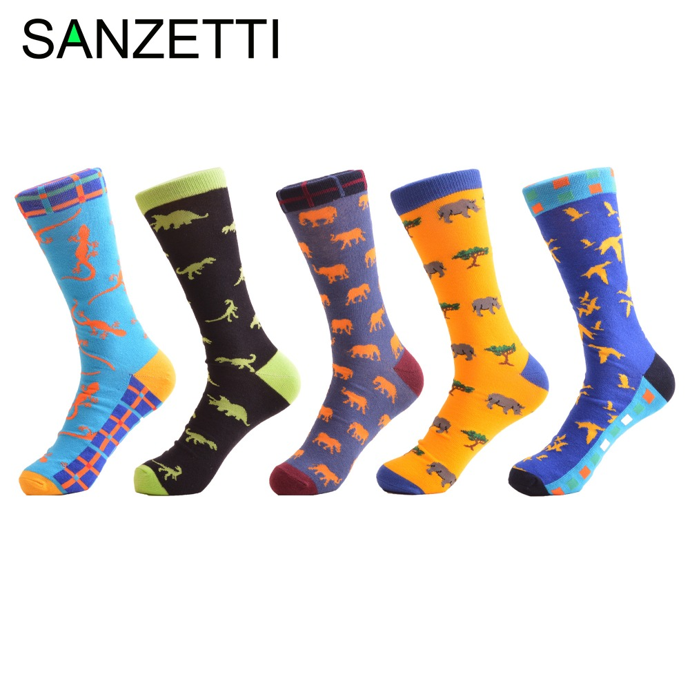 SANZETTI 5 Pairs/Lot Colorful Mens Socks Funny Cool Combed Cotton Skateboard Sock for Male Novelty Causal Dress Business Socks
