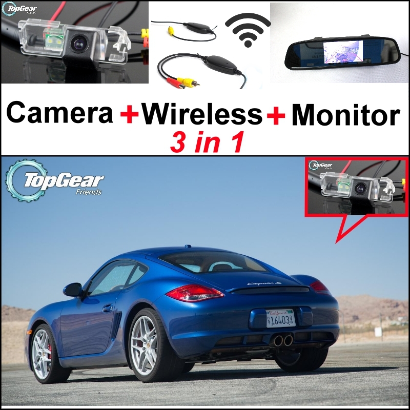3 in1 Special Rear View Camera + Wireless Receiver + Mirror Monitor Easy DIY Back Up Parking System For Porsche Cayman GTS 3 in1 special rear view camera wireless receiver mirror monitor easy diy back up parking system for dacia duster