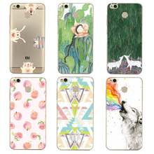 Lotus Soft Clear TPU Phone Case For xiaomi redmi 4x 4a note5a note4x 5s 5s mi6 note3 Peach Printed Deer Bag Cover Free Shipping(China)