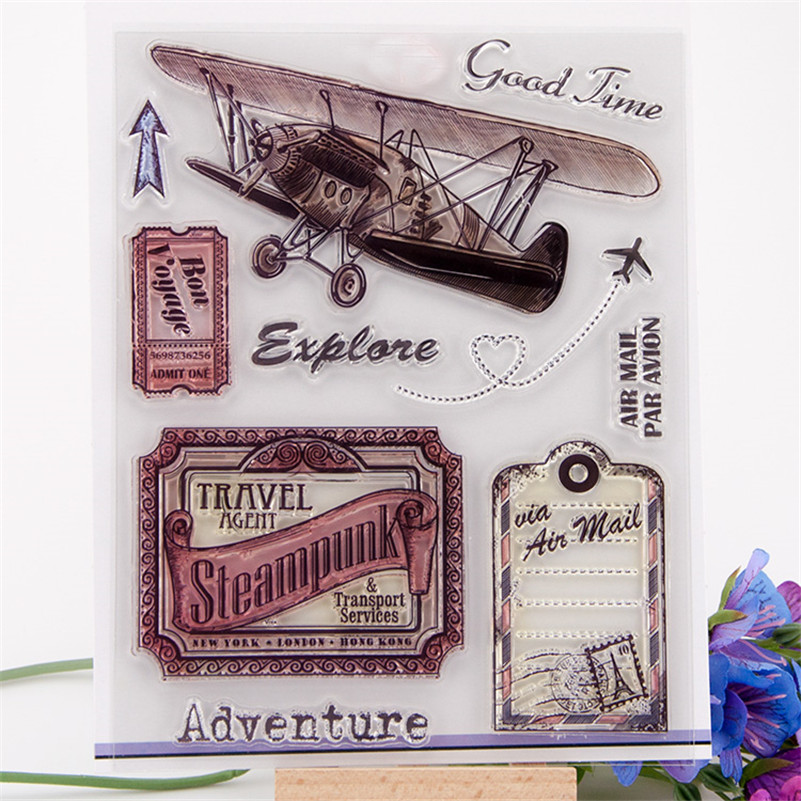 2016 new paper craft stamps Scrapbook DIY Photo Album silicone clear Stamps cartoon air travel Adventure CC-013 ylcs221 animals silicone clear stamps for scrapbook diy album paper cards decoration embossing folder craft rubber stamp 11 16cm