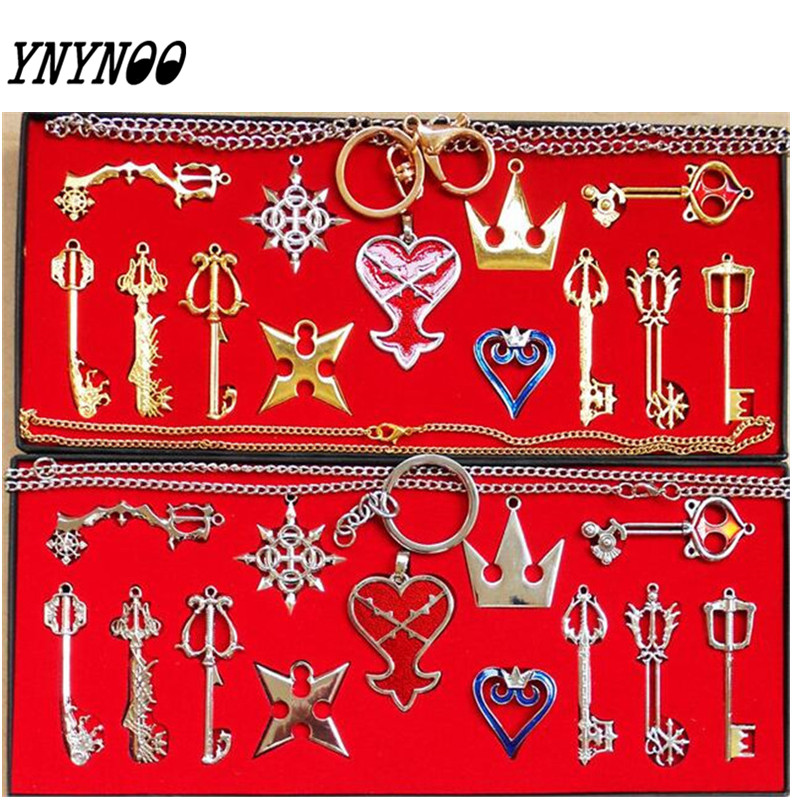 YNYNOO Action Figures 13pcs/set Kingdom Hearts II KEY BLADE Necklace Pendant+Keyblade+Keychain Z314 all characters tracer reaper widowmaker action figure ow game keychain pendant key accessories ltx1