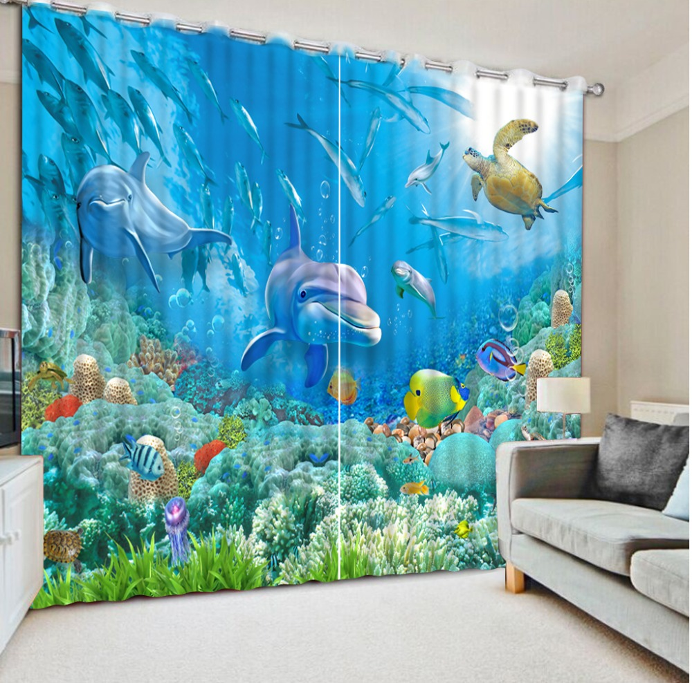 Modern Window Curtains For Kids Room Custom Photo Curtain 3D Paint understand world dolphin Bedroom Curtains