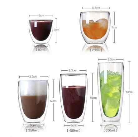 New 650 ml/450 ml/350 ml/250 ml Nhiệt Chống Đôi Tường Rõ Ràng Thủy Tinh Cốc Cốc Trà drinkware Cup Uống Chế Độ Sức Khỏe Cốc Cốc Cốc Cà Phê
