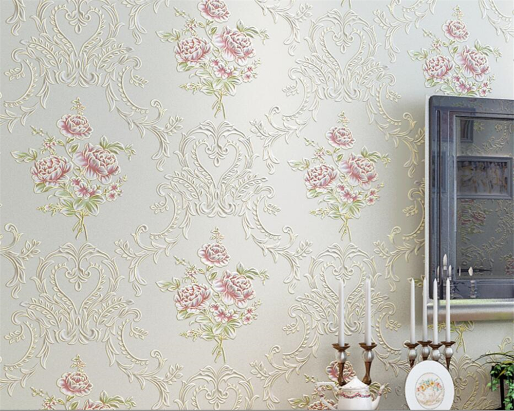 Beibehang wallpaper-roll-size Warm Embossed bronzing flower wallpaper living room bedroom background wall aisle 3d wallpaper