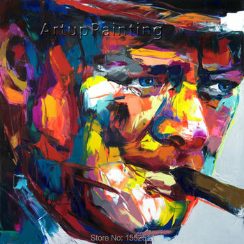Palette knife painting portrait Palette knife Face Oil painting Impasto figure on canvas Hand painted Francoise Nielly 14-31