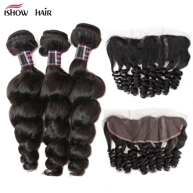 Ishow Brazilian Loose Wave Bundles With Closure Non Remy Human Hair 3 Bundles 13X4 Ear to Ear Lace Frontal Closure With Bundles