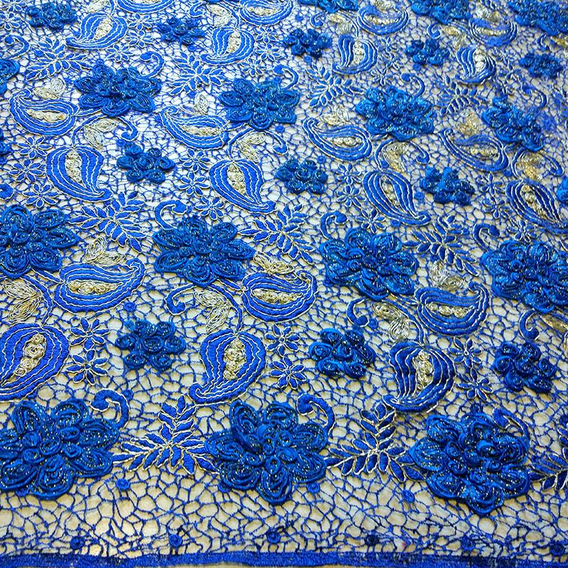 complex luxury lace fabric voile lace high quality fabric 3D leaf sewing Blue Italy sale cotton laces yarn tulle embroidery in Fabric from Home Garden