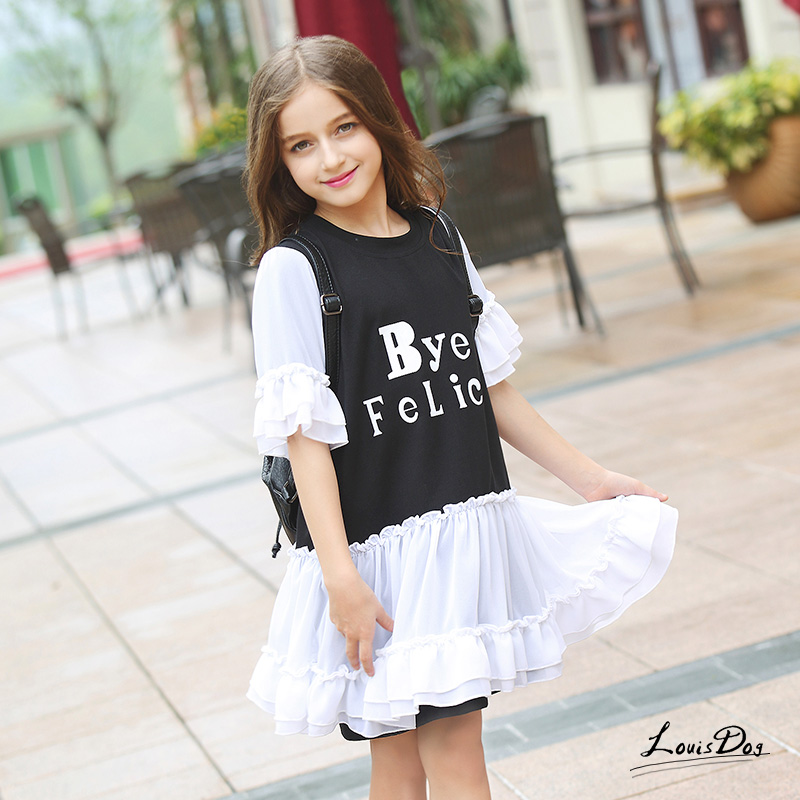 Teenage Dresses Cute Girl Children's Lace Princess Half Sleeve Dress Summer Letter Printed O-neck Flare Sleeves Kids Clothes