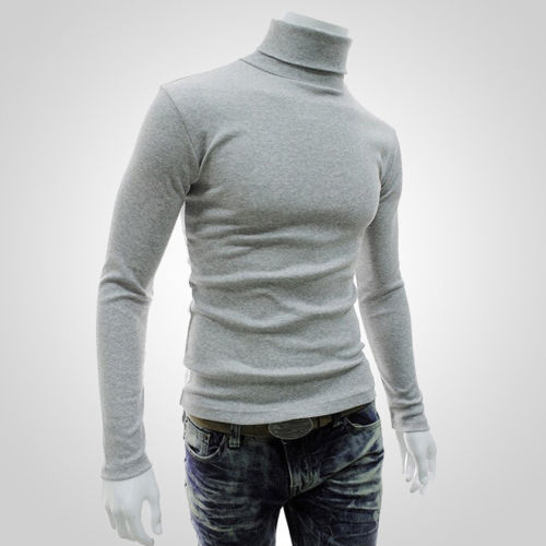 2018 Autumn Winter Men Slim Warm Cotton High Neck Pullover Jumper Sweater Top Turtleneck Knit Sweater Jumper Tops Shirt M-XXL