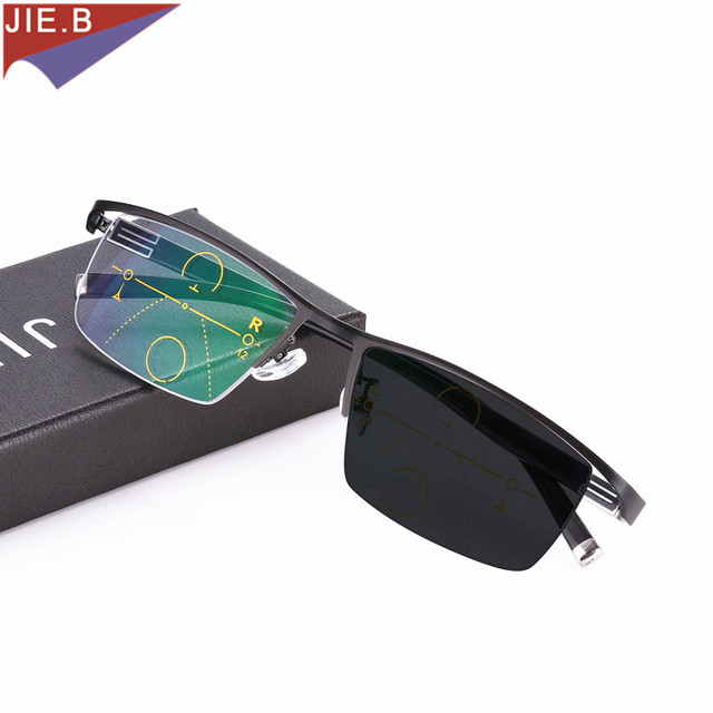 Fashion Transition Sunglasses Photochromic Progressive Reading Glasses Men Multifocal Points for Reader Near Far sight diopter