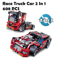 608pcs Race Truck Car 2 In 1 Transformable Model Building Block Sets Decool 3360 DIY Toys Compatible With Lego Technic