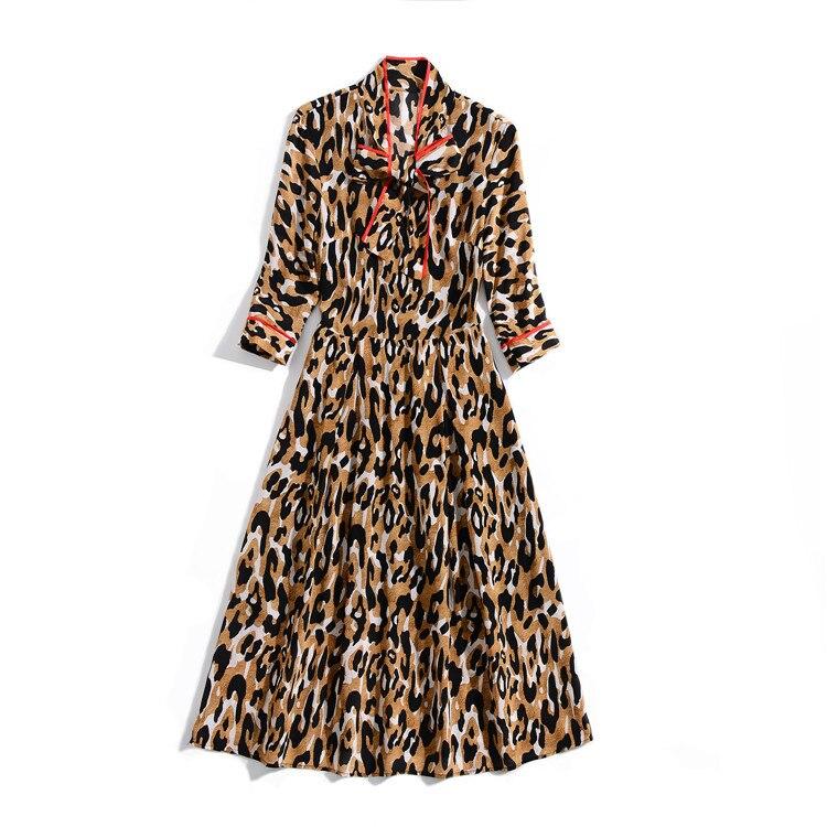 Nouveau Robe Léopard Soieul345 D'été 2019 Courtes Manches V Cou En Printemps dBerCWxo
