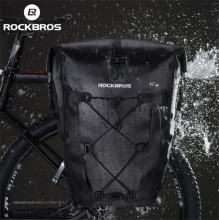 ROCKBROS Waterproof Cycling Bag 27L Portable Bike Pannier Rear Rack Tail Seat Trunk MTB Riding Accessories