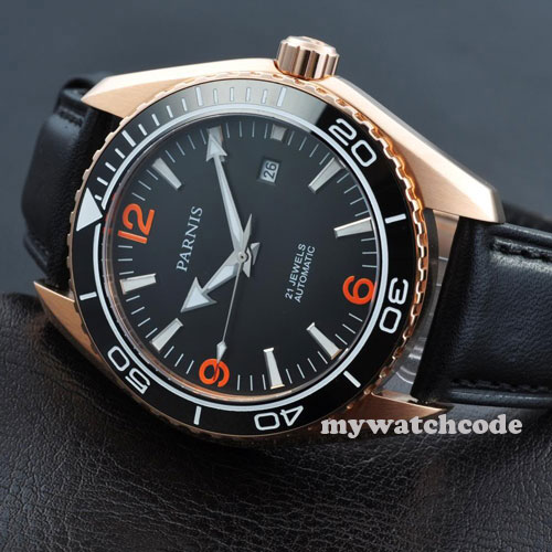 45mm Parnis black dial Sapphire Glass ceramic bezel Automatic mens Watch P306