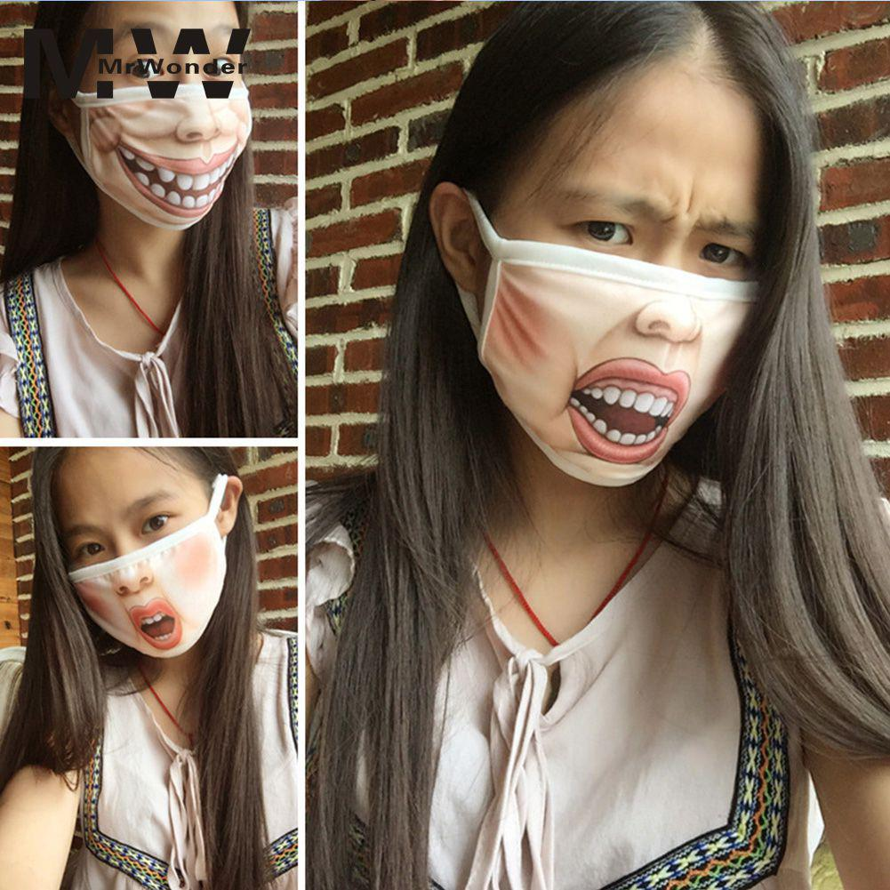 MISSKY Creative Mouth Mask Mischievous Anti-Dust Warm Face Masks Printing Big Mouth Mask Interesting For Girl Boys SAN0