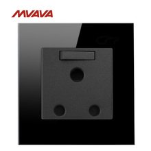 MVAVA 15A South Africa Stardard Switched Socket Wall Decorative Receptacle Luxury Black Crystal Electrical Outlet Free Shipping