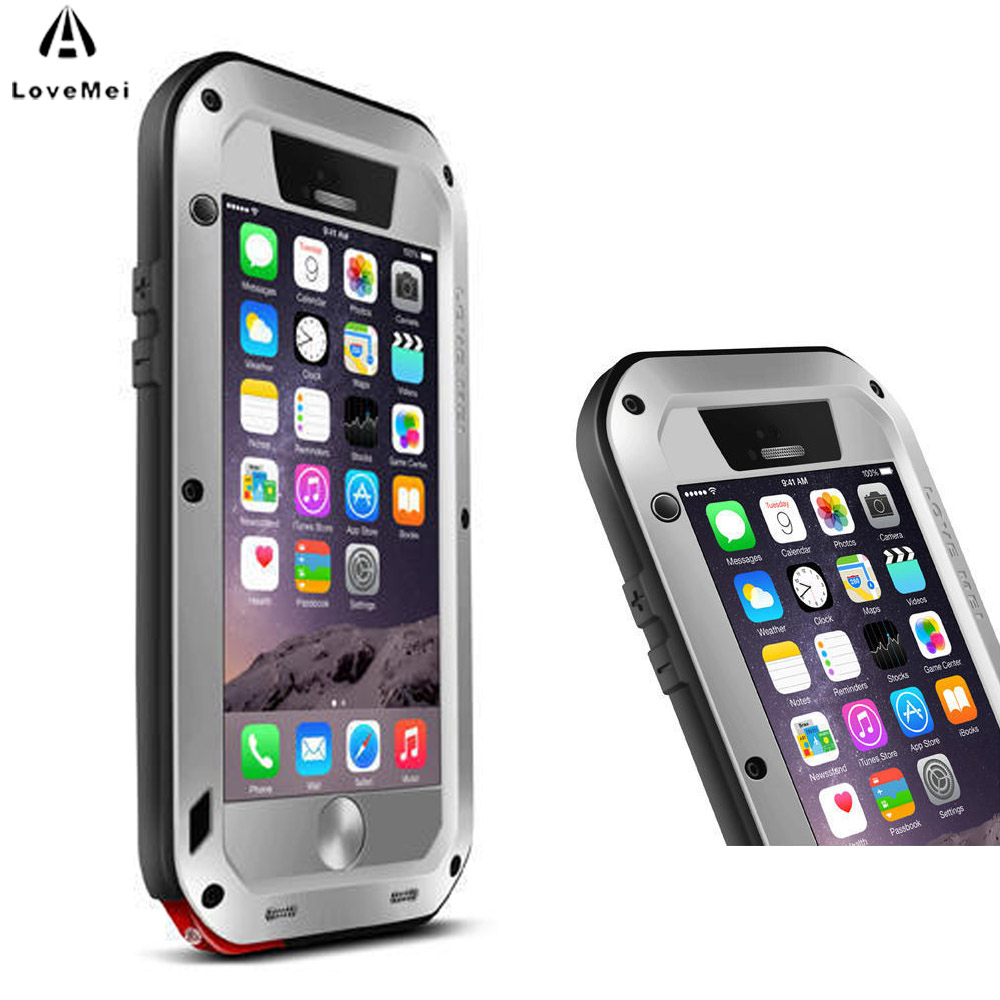 imágenes para AMOR MEI Para Funda iphone 6 Caso Extreme Vida Potente a prueba de golpes Cubierta de la Caja De Aluminio Del Metal Para el iphone 6 6 S Resistente templado