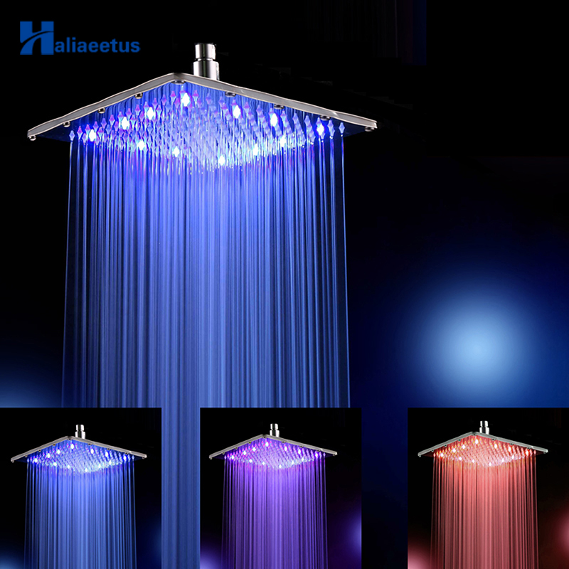12 Inch Water Power Rain Led Shower Head Without Shower Arm 3 Colors Changed 30 CM