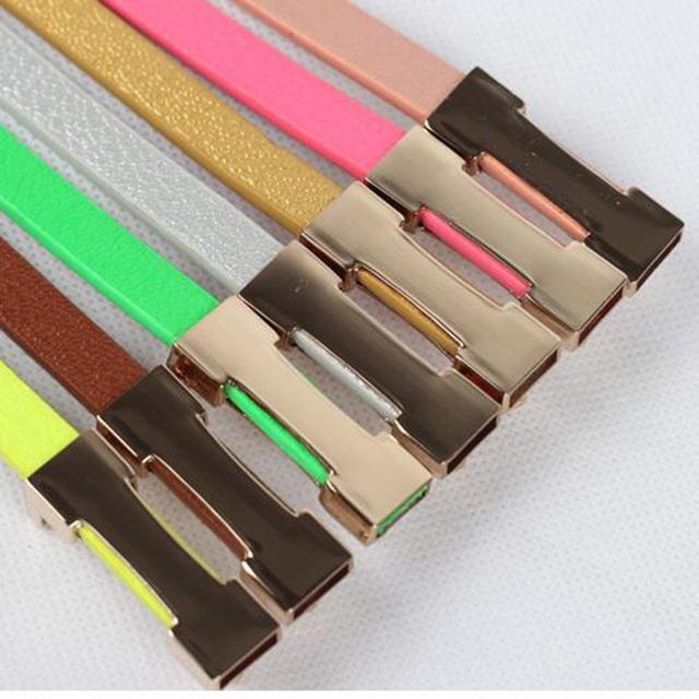 Fashion Waistband Metal Buckle Imitation Leather Thin Belt Lady Cummerbund Women Accessories