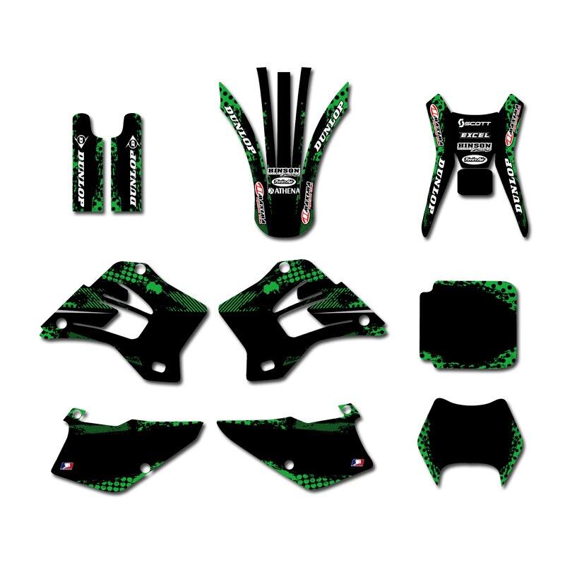 GRAPHICS & BACKGROUNDS DECAL STICKER Kit  For Kawasaki KDX200 KDX220 1995-2005 2006 2007  2008 KDX 200 220