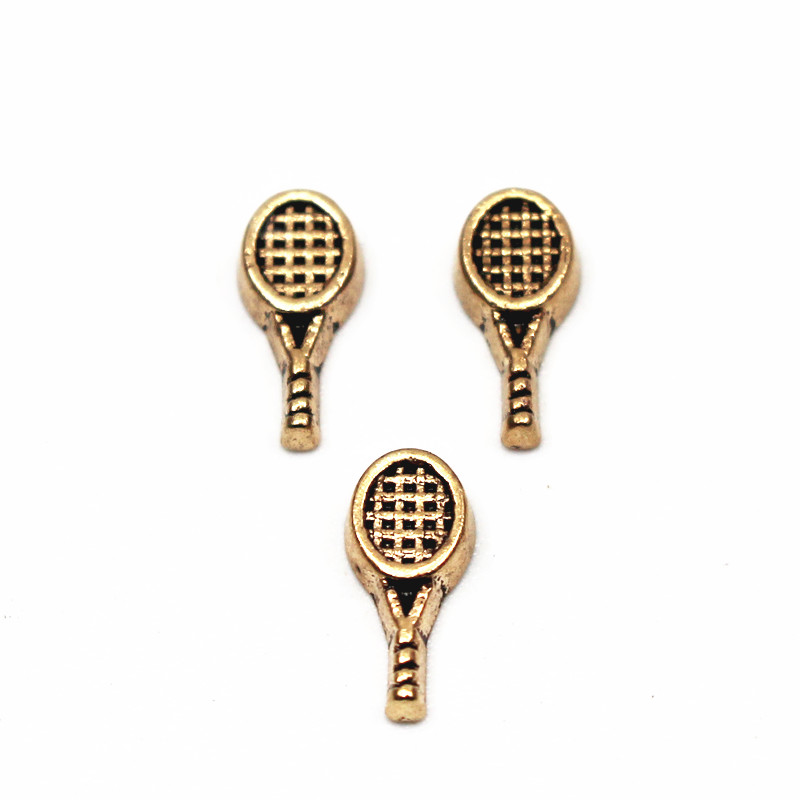 Hot selling 20pcs/lot battledore tennis racquet silver floating charms jewelry for living glass memory floating lockets