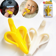 Banana Silicone Toothbrush Safety Baby Teether Teething Ring Child Chews Baby Teeth Stick Children Toothbrush 3 Styles