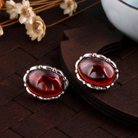 S925 pure Tremella nail clamp Garnet Earrings Silver half arc high grade national air duct about direct selling