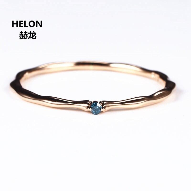 Certifié Naturel Bleu Diamant Anneau Solide 14 k Or Rose Femmes Bague de Fiançailles Partie Fine Bande De Mariage Mixte Élégant Mince