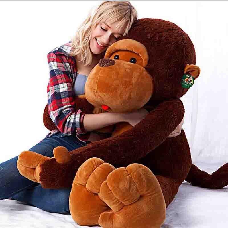 Énorme 100 CM peluche géant grand brun 100% coton doux en peluche singe poupée jouet