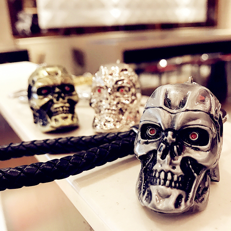 2017New Fashion Cool Skull Terminator Car Key Chain Individuality Creative Stainless Steel Key Ring Hangs Gifts 10