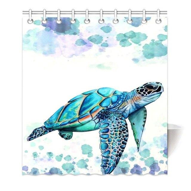 Shower Curtains Art Fantastic Sea Animal Watercolor Brick Turtle Blue Printing Decorative Polyester Fabric Bathroom