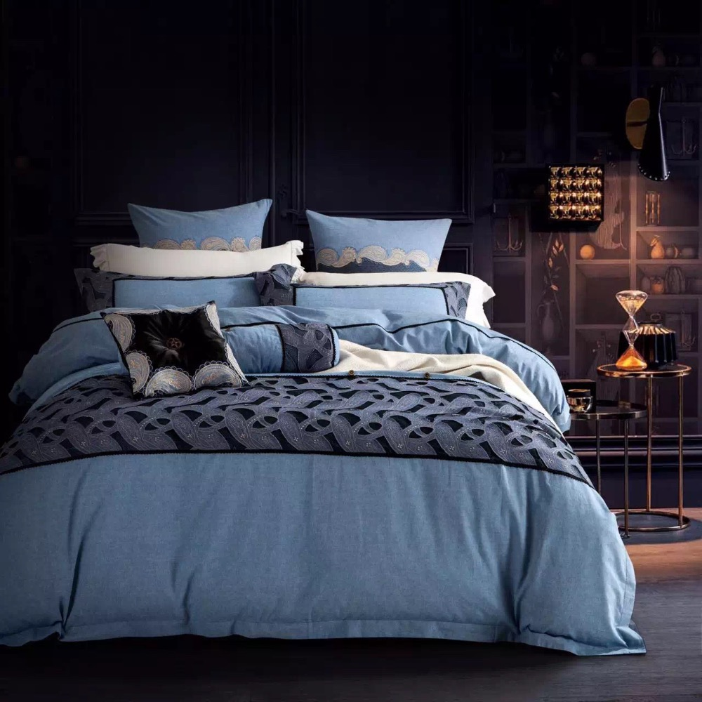 Black and blue bed sheets - 4pcs Bedroom Set 100 Cotton Jeans Blue Fabric Bedding Set With Black Lace Sexy Bed