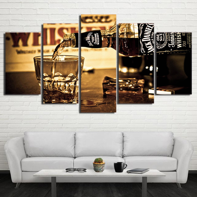 Wall Pictures Hd Printed Jack Daniels Posters For Living Room Home Decor Drink 5 Pieces