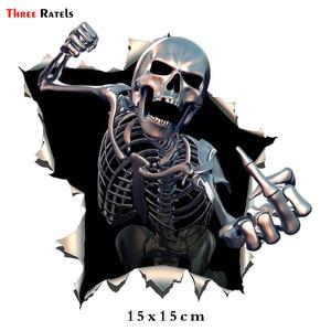 Image 2 - Tre Ratels ALWW202 13 #15x15 centimetri in metallo arrabbiato di scheletro del cranio con la Barba Premium divertente sticker auto decalcomanie auto