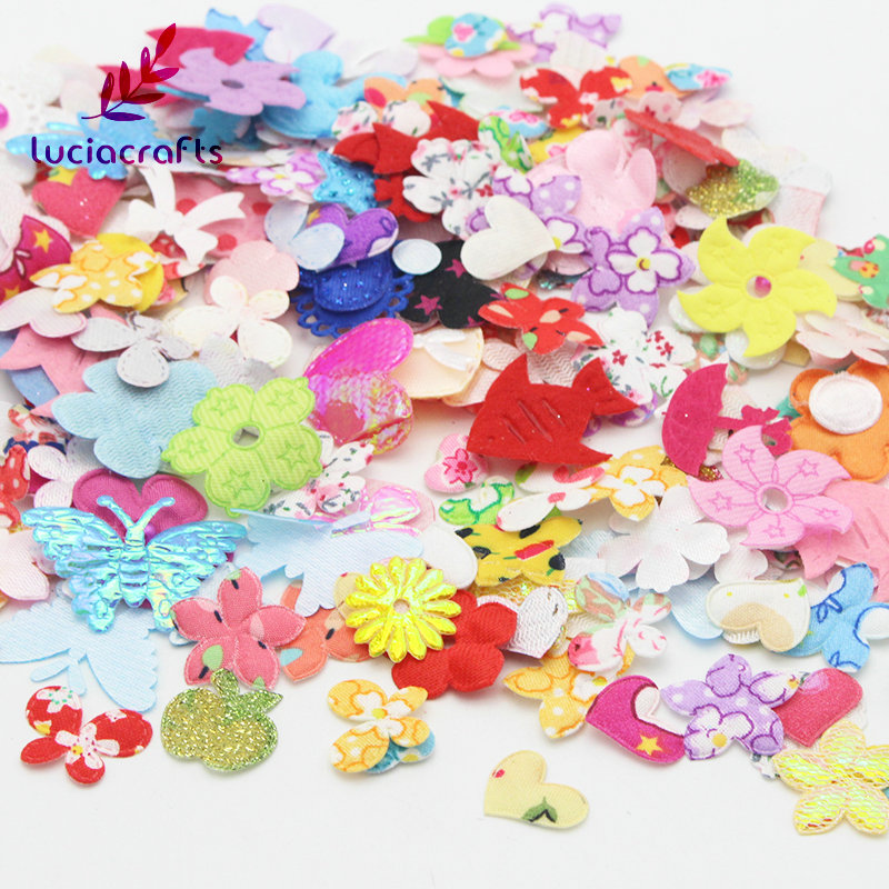 Lucia crafts Fabric Flower Butterfly Mix DIY Handmade Garment Scrapbook Decoration Appr 4~11g/lot,(appr 100~220pcs/bag) 14020006