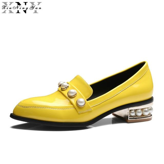 XiuNingYan 2017 Femmes Richelieus En Cuir Verni Appartements Chaussures  Slip-on À La Main Femme 0b567d0ab259