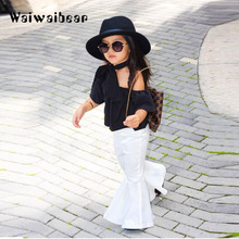 Waiwaibear Childrens Set Shoulder a Word Collar Blouse +  Flared Trousers 2PCS Sets Kids Clothes YYX056