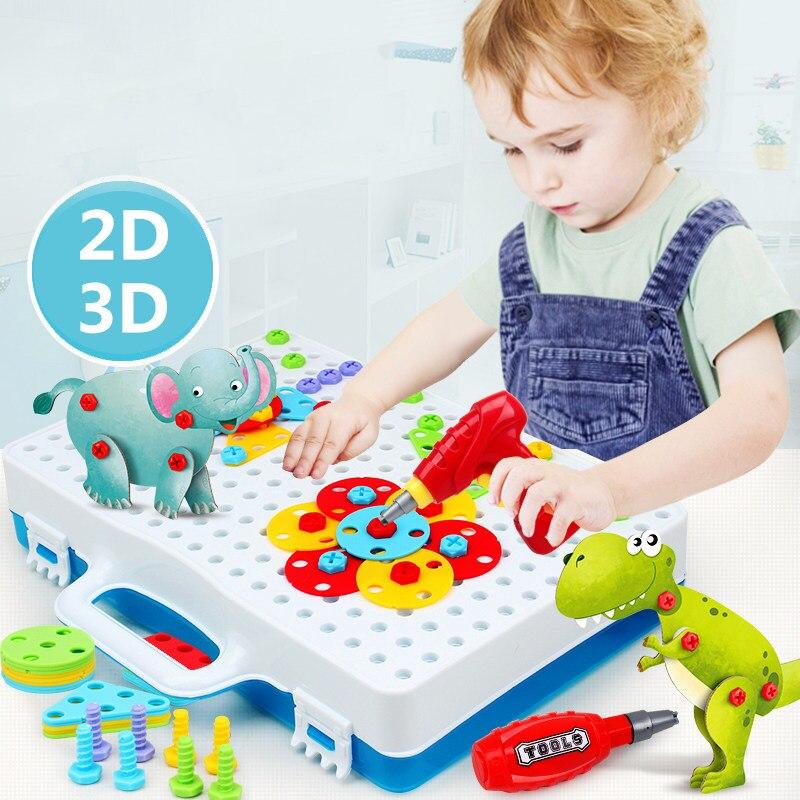 Hands-on dei bambini smontaggio twist vite di puzzle toolbox trapano giocattolo di puzzle ragazzo demolizione animale montaggio