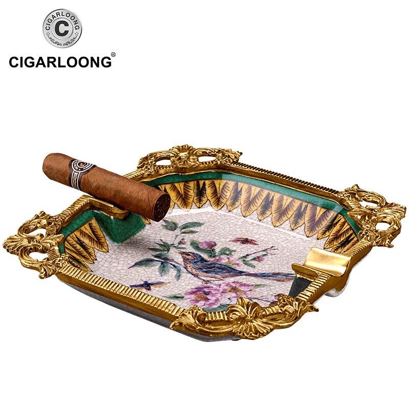large diameter smoke trough bone china cigar ashtray CE-0305
