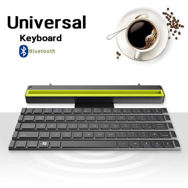 Universal Portable Folding BT Wireless bluetooth Keyboard Rollable Foldable Intelligent Magnetic Switch For Table PC iPad iPhone 3