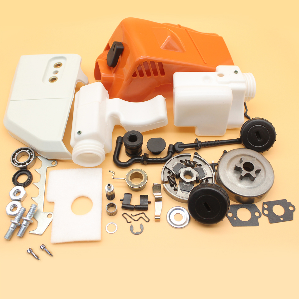 Top Cylinder Sprocket Cover Clutch Drum Fuel Oil Tank Kit For STIHL MS170 MS180 017 018 MS 180 170 Chainsaw Replacement Parts