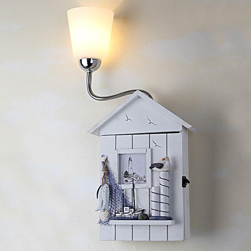 Childrens Wall Lamp: Children Room Wall Lamp Fish Wood House Children Bedroom