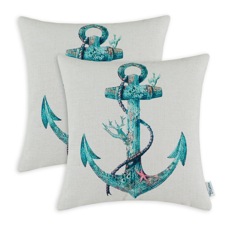 2PCS CaliTime Cushion Cover Decorative Pillows Shell Boat Anchor Home Car 18 X 18(45cm X 45cm)